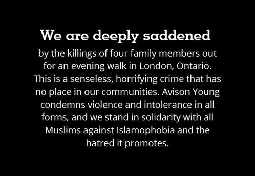 We are deeply saddened by the killings of four family members out for an evening walk in London, Ontario