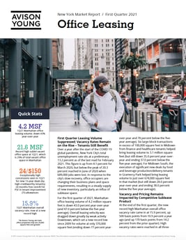 PRESS RELEASE: Avison Young Report Shows Manhattan Office Vacancy Rate Rose to Record Level    in the First Quarter